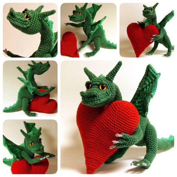 Crochet dragon, crochet fantasy, amigurumi dragon - Dragon of Love ...