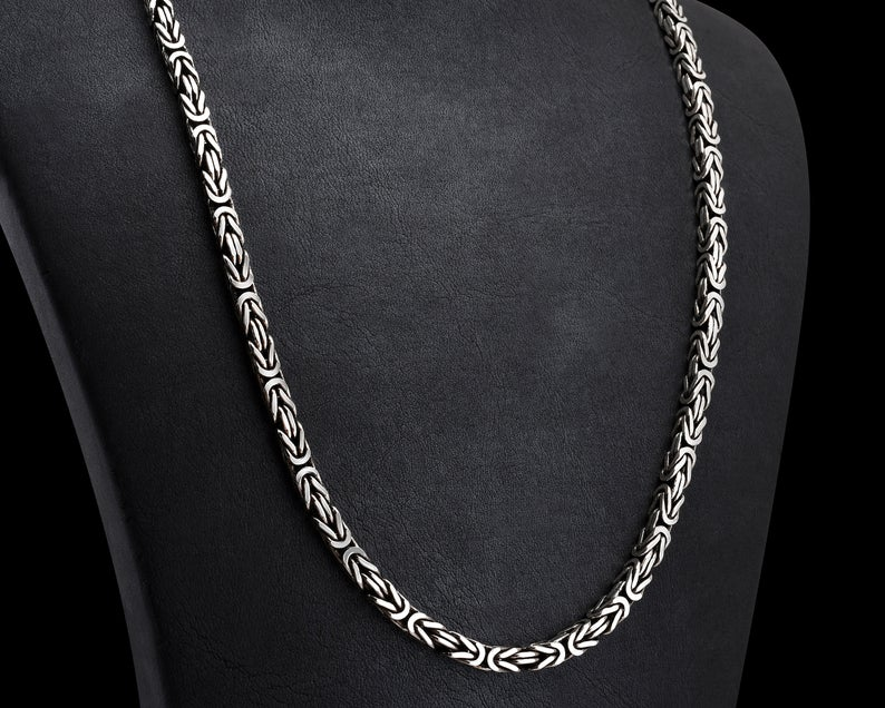 4mm Sterling Silver Squeare Byzantine Chain Necklace Handmade Etsy Mens Chain Necklace Silver Chain For Men Chains For Men