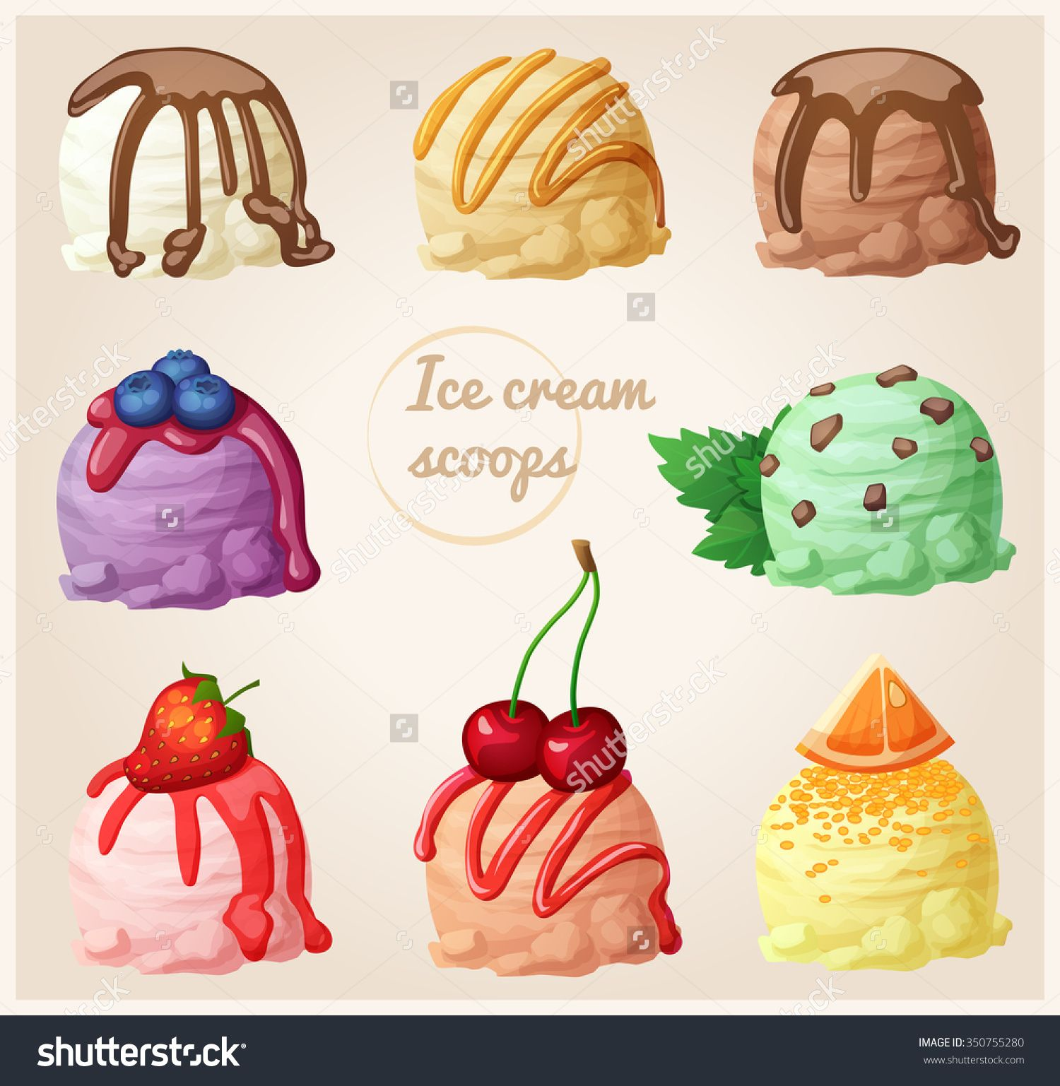Set of cartoon icons. Ice cream scoops with different toppings and ... for Ice Cream Scoop Animated  56bof
