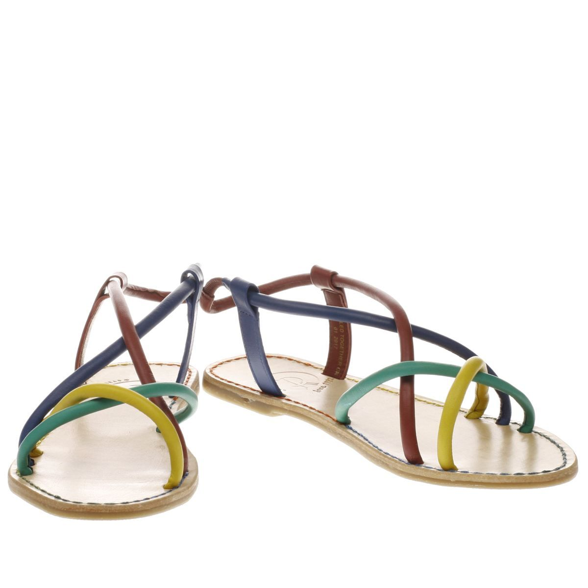 womens red or dead purple & blue rose rainbow sandals