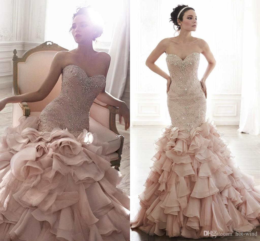 Blush mermaid wedding dress   Vestidos De Noiva Blush Pink Mermaid Wedding Dresses Sweetheart