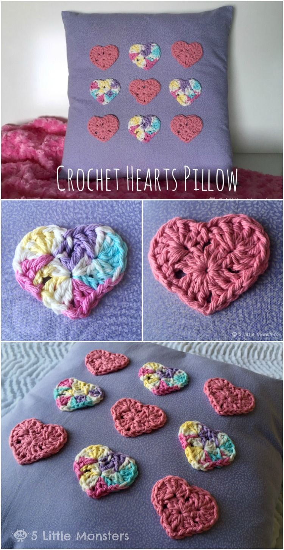 Crochet Hearts Pillow