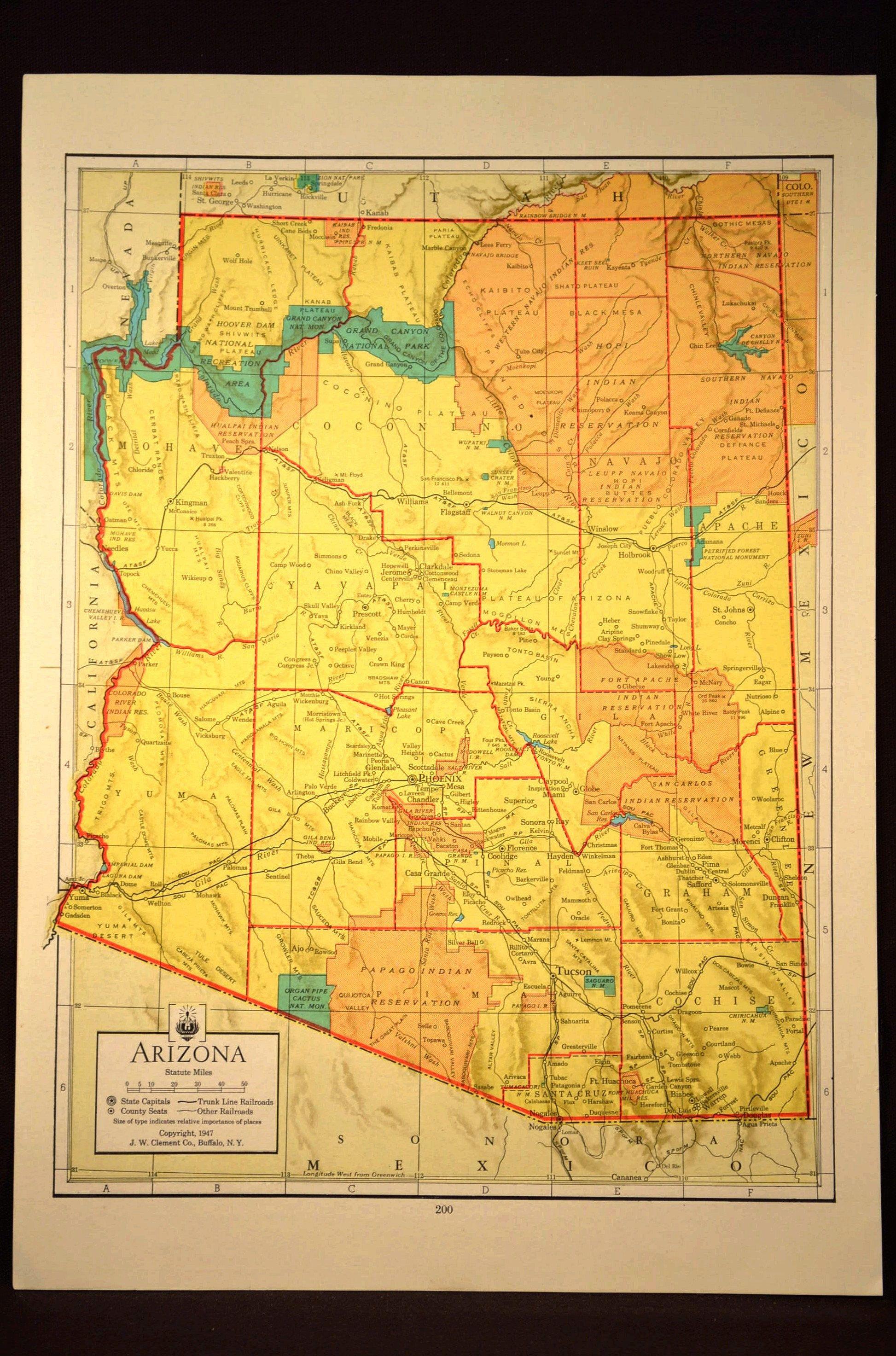 Arizona Map Of Arizona Wall Art Decor Original 1940s Colorful Etsy Arizona Map Bird Prints Insect Print