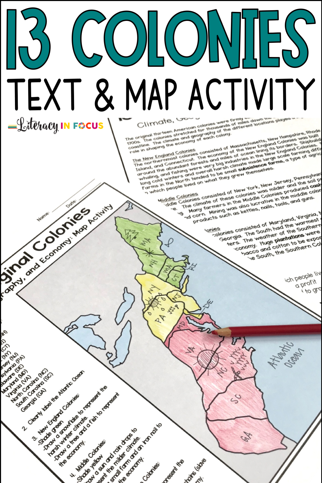 13 Colonies Map And Activities