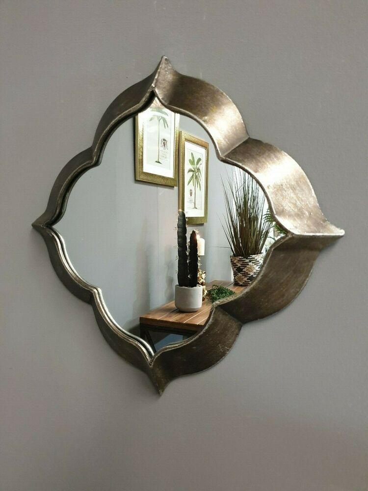 Rustic Wall Mirror Distressed Moroccan Style Ornate Metal Frame