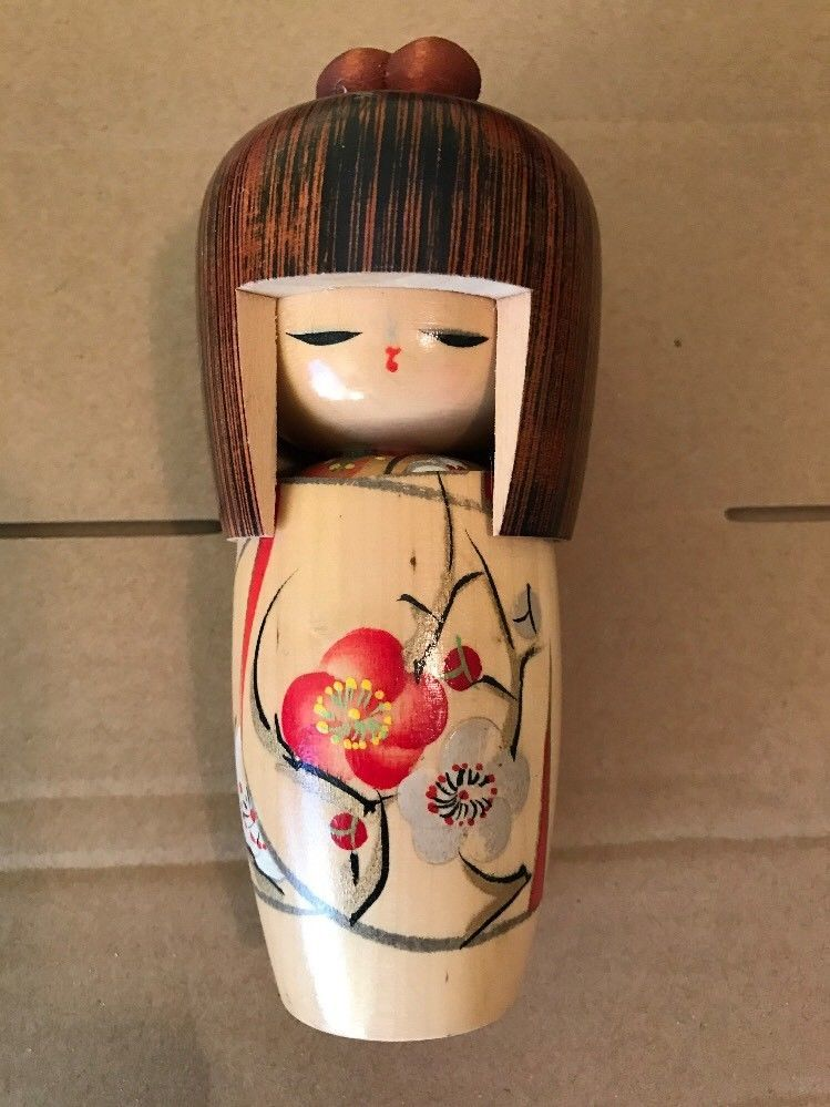 Japanese Asian Kokeshi Girl Woman Figurine Carved Wooden Doll 6