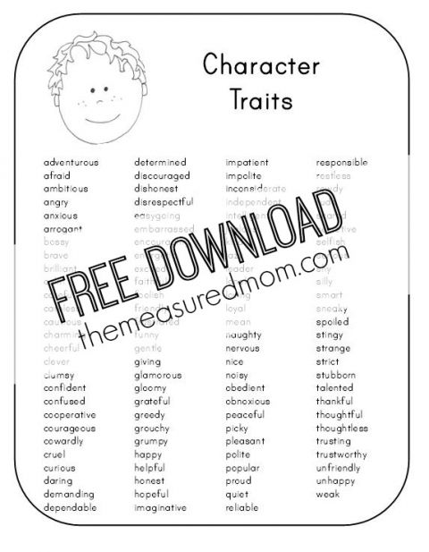 Free Character Analysis Worksheet For Kids Character Trait