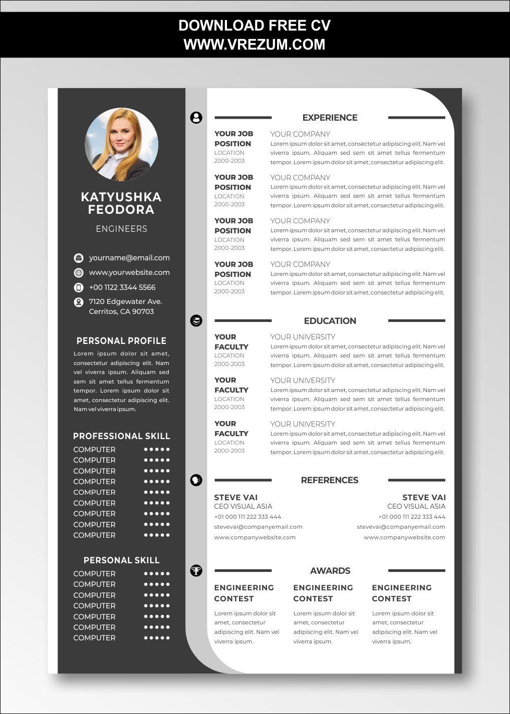 Editable Free Cv Templates For Finance Professionals Cv Template Free Cv Template Resume Template Free