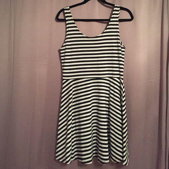 9e007c1b3c Black and White Striped Skater Dress! Cool and comfy skater dress with black  and white stripes! Factorie Dresses