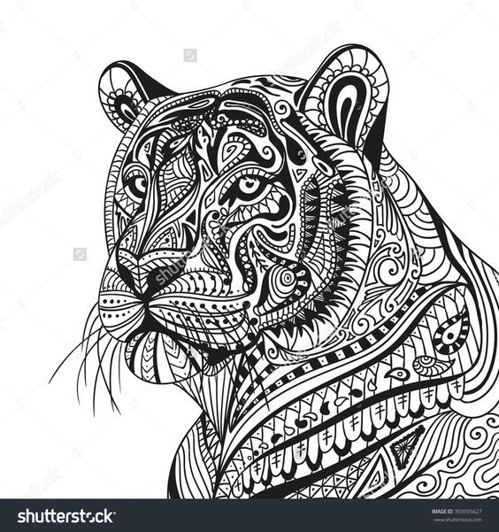 Pin by kindell williams on work ideas mandala coloring pages animal wall decals animal - Tigre mandala ...