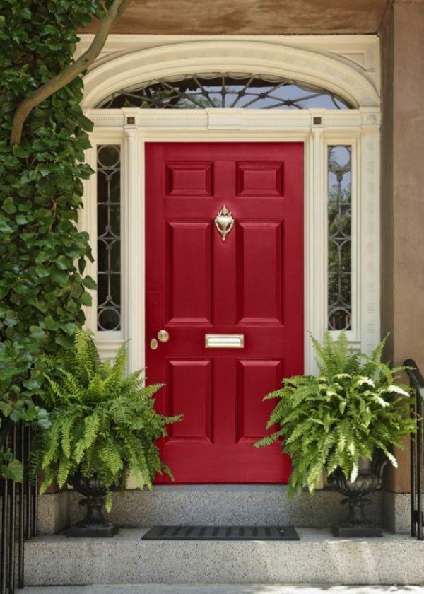 Haustür landhaus blau  Hausanstrich Farbe farbideen haustür rot streichen   Doors ...