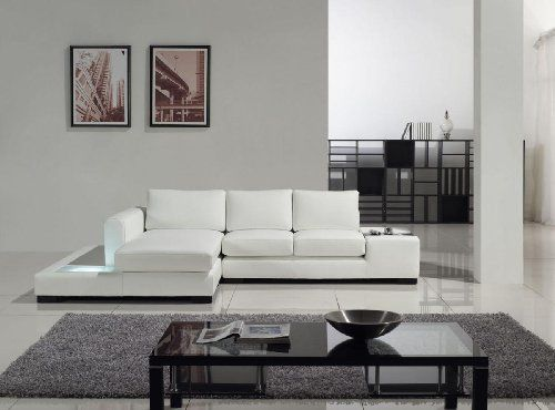 T35 Mini White Bonded Leather Sectional With Light Sofa Design Leather Sofa Sophisticated Living Rooms