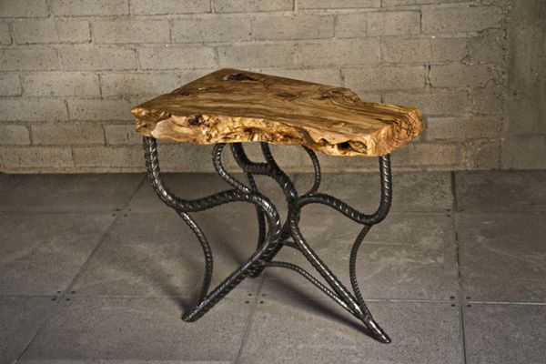 Olive wood side table with forged rebar base by randy for Forged iron table base