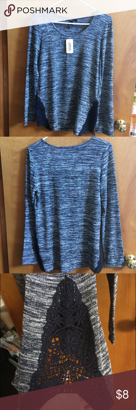 Forever 21 Long sleeve Tee Forever 21 long sleeve tee shirt with lace detail on the side. Willing to combine and negotiate Forever 21 Tops Tees - Long Sleeve