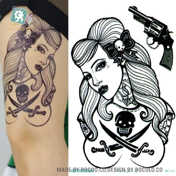 4a0b973508744 Body Art HD Large Tattoo Sticker Body Art Sexy Skull Women Gun Temporary  Tattoo Terrorist Stickers Flash Taty Tatoo