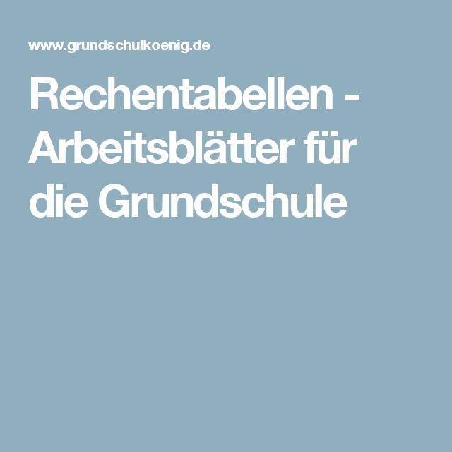 Rechentabellen - Arbeitsblätter für die Grundschule | Mathe 1.+2 ...
