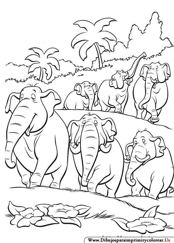 Dibujos de El libro de la Selva para Imprimir y colorear | Jungle ...