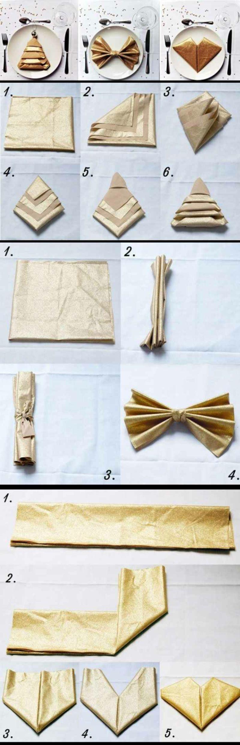 Servietten falten zu Weihnachten: 20 originelle Tischdeko Ideen