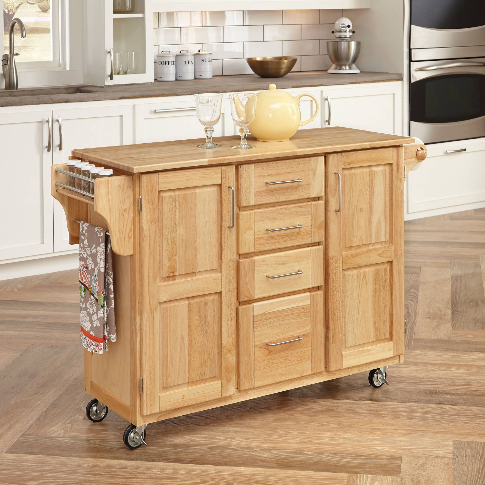 Mainstays Kitchen Cart With Drawer Spice Rack Towel Bar Butcher Block Top White Walmart Com Breakfast Bar Kitchen Kitchen Furniture Kitchen Island On Wheels