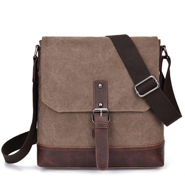 9fba6582a14 Canvas+Crazy Horse Leather Vintage Bag New Men Messenger Bags Men Shoulder  Crossbody Bags for Man Small Bag Designer Handbag