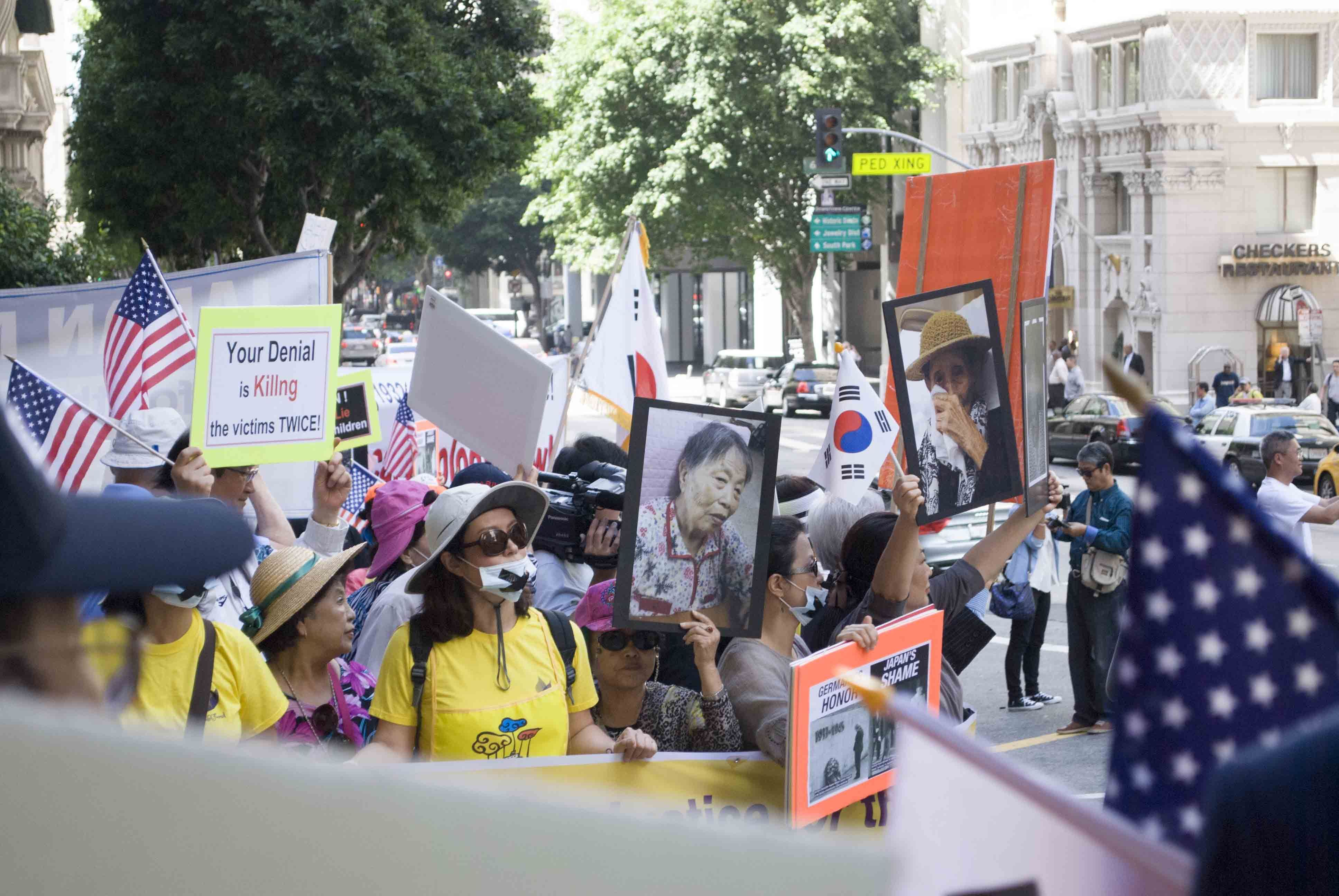 Los Angeles Protestors Gather In Downtown Against Japanese Prime Minister Shinzo Abe Shinzō Abe Japanese Downtown
