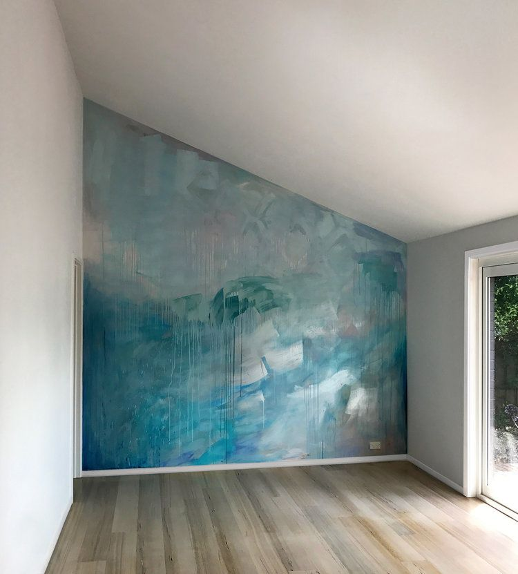 Diy Wall Painting Technique Ocean Water Painted Contemporary Abstract Mural In Pastel Blue Green And Metallic Paint Wall Painting Metal Tree Wall Art Mural