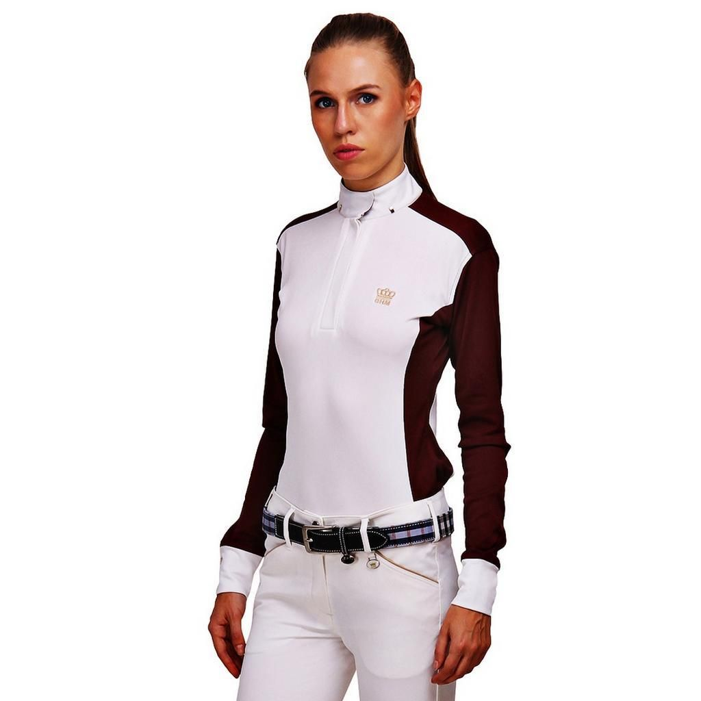 beb3b3539 George H Morris Ladies Champion Long Sleeve Show Shirt - White/Wine ...