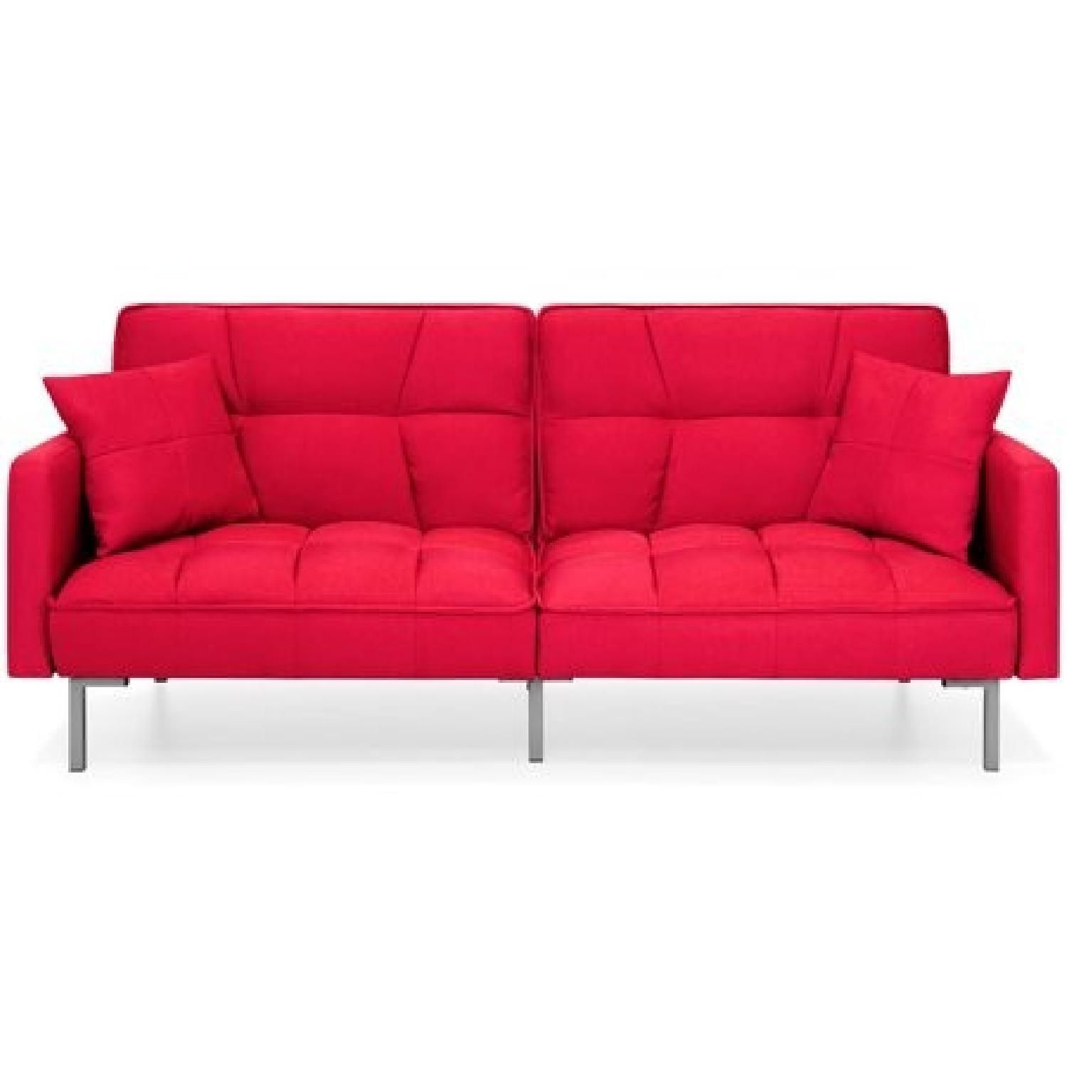 Red Convertible Linen Tufted Futon   Apartment in 2019 ...