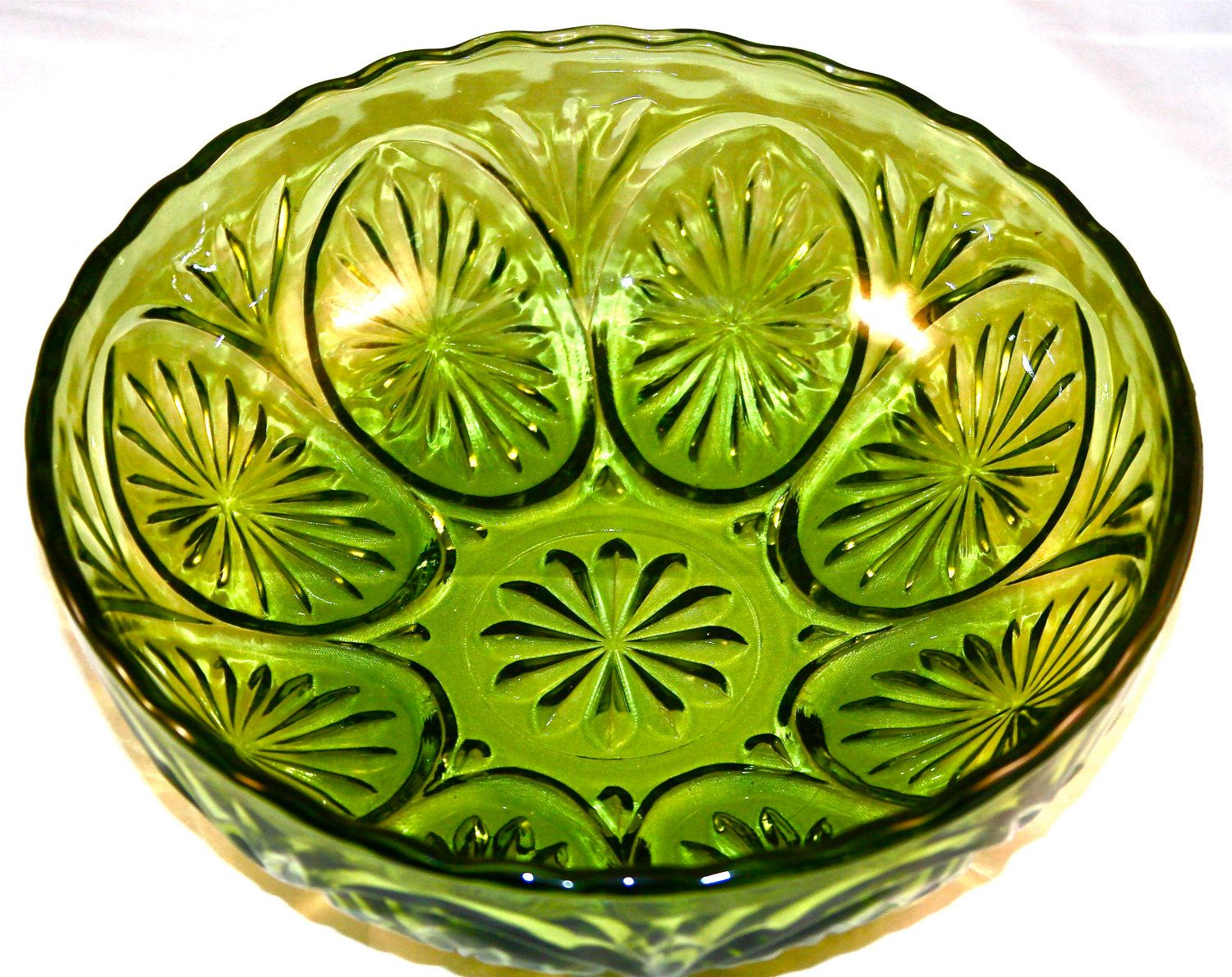Antique Decorative Bowls Vintage Green Glass Decorative Bowli Have The Chip And Dip Set Of