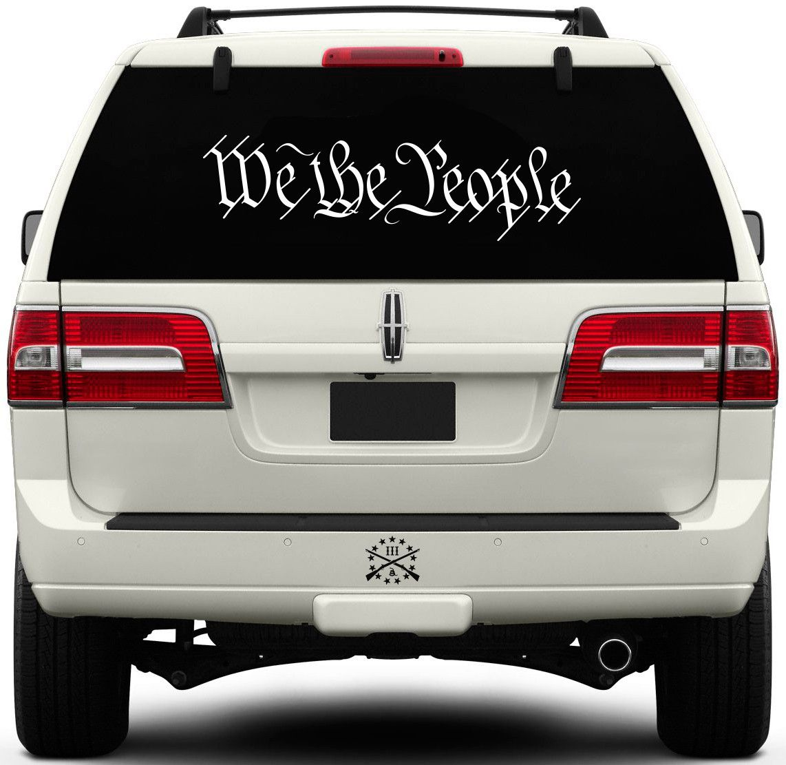 "This premium quality precision cut vinyl window decal features the first three words, ""We The People"", from the United States Constitution Preamble. Decal Measurements: - 6"" wide x 1.70"" tall - 8"" wid"