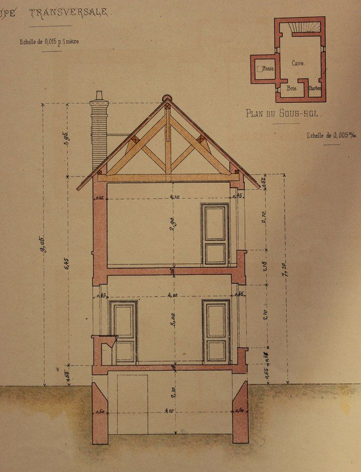 Section Of The Maison Du0027habitation, From The Portfolio U0027Petites  Constructions Françaisesu0027 (ca. Some Plans, And Sections.