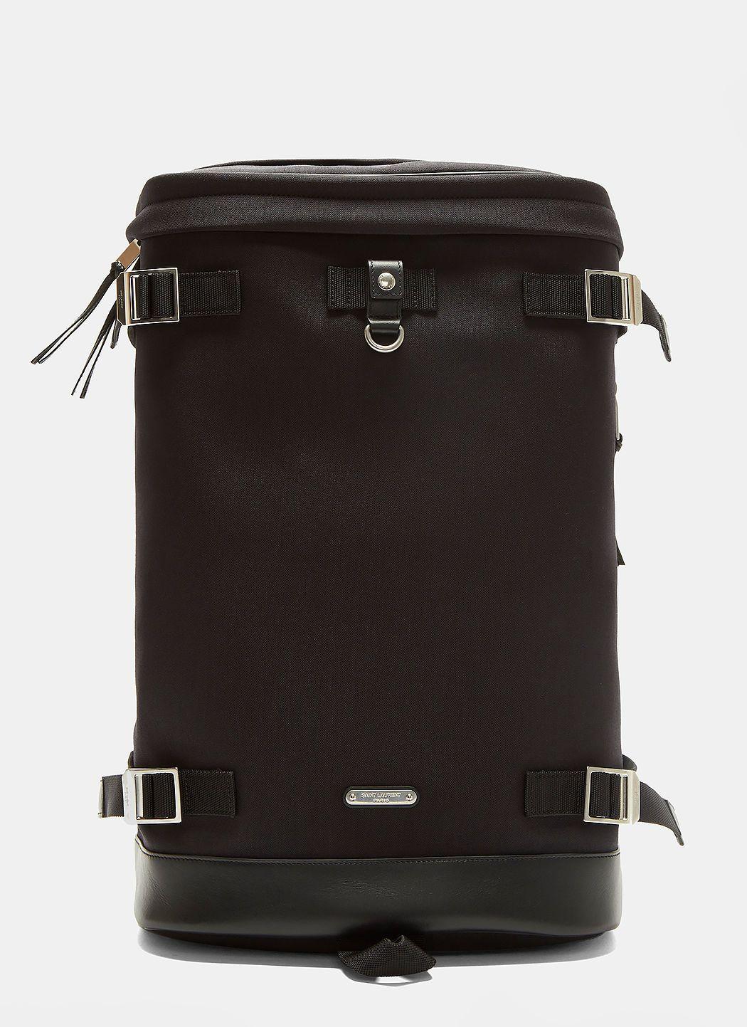 d424adae1f4 SAINT LAURENT Rivington Race Canvas Backpack In Black. #saintlaurent #bags # leather #canvas #backpacks #cotton #