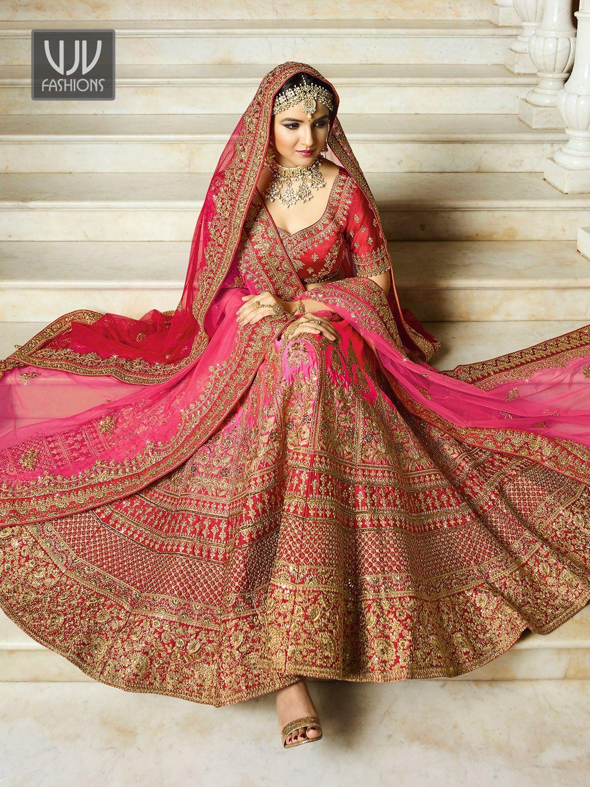 Awesome Pink Color Wedding Designer Lehenga Choli Indian Wedding Dress Bridal Lehenga Indian Bridal Outfits Bridal Lehenga Red