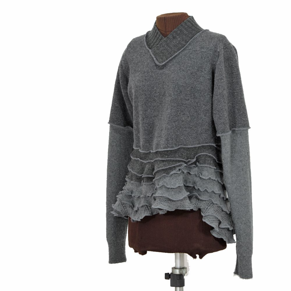 wavy gray wool pullover, reconstructed - Secret Lentil Clothing