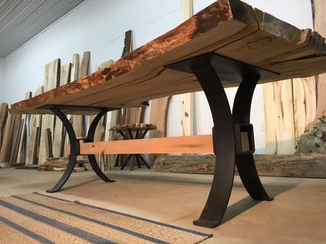 Custom Crafted Steel Dining Table Base Set Ohiowoodlands