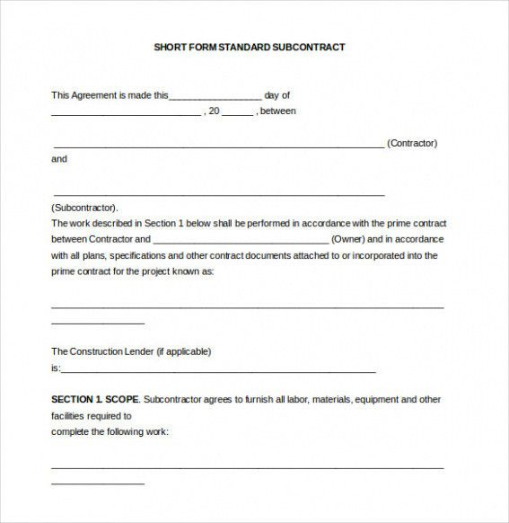 Subcontractor Contract Template Beauteous Download 44