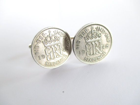 Lucky Sixpence Coin Cufflinks British Coin by Michelleshandcrafted