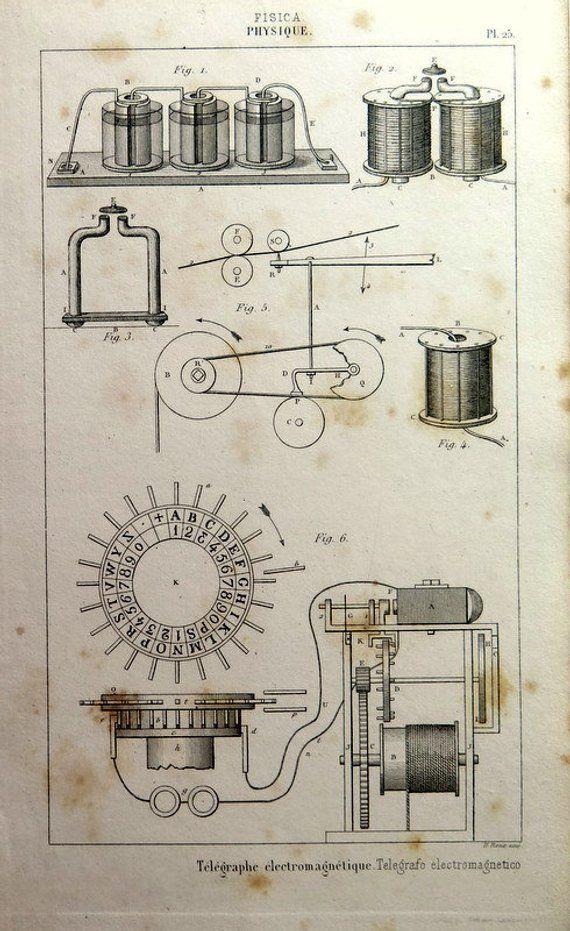 007 Antique Science engraving, 1852 Vintage telegraph print