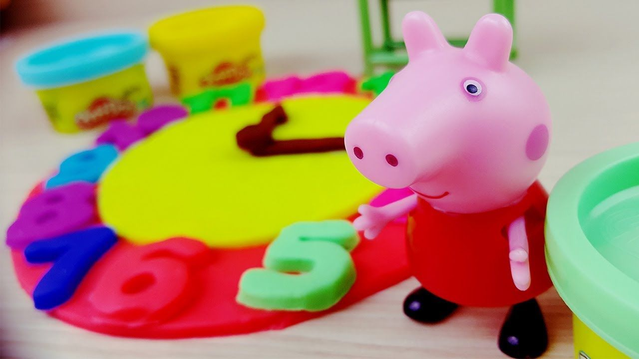 Learn Colors with Peppa Pig Massinha PLAY-DOH Clock Nursery Rhymes Song For  Kids -