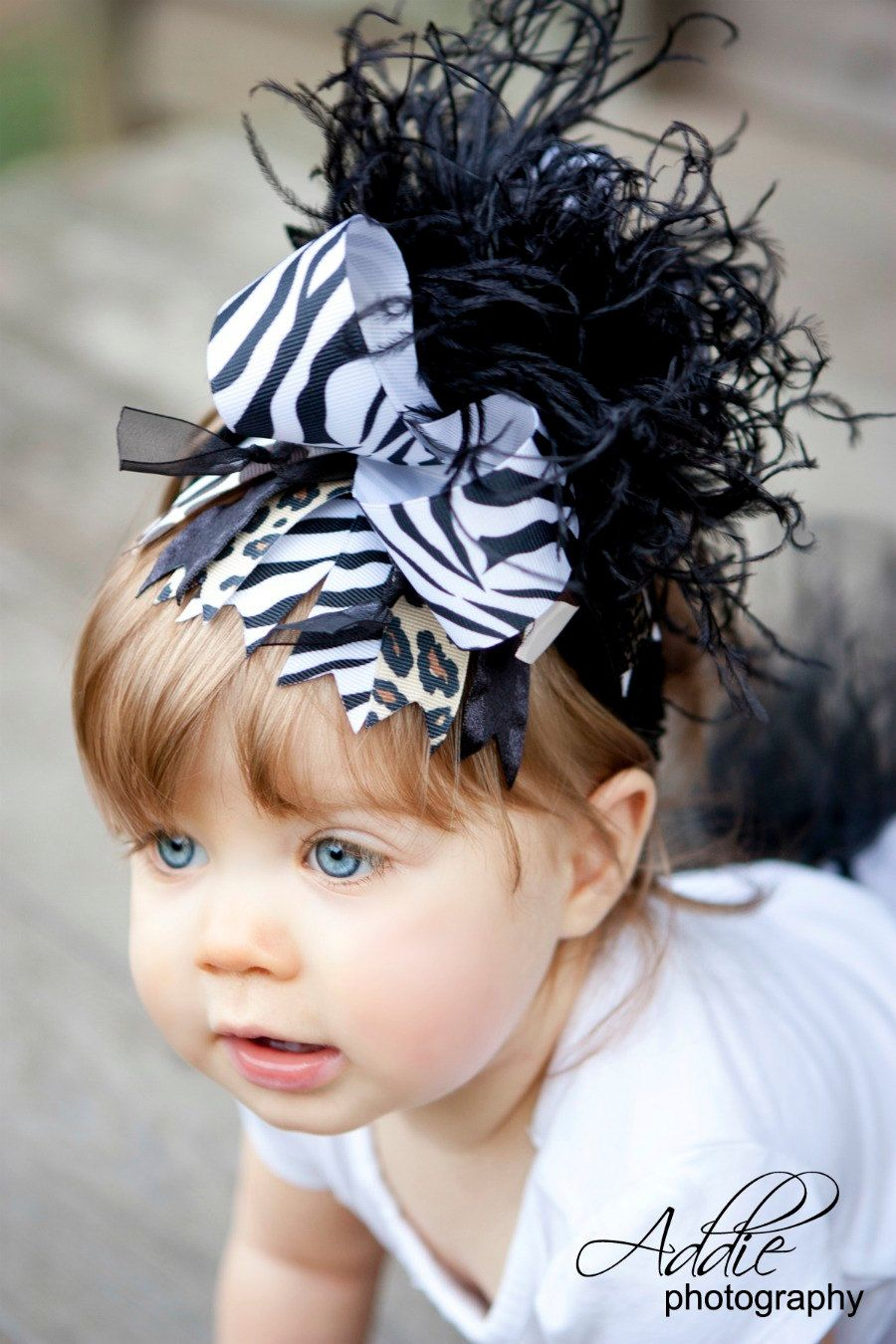 Over the Top Animal Print, zebra, cheetah, and giraffe, Boutique Hair Bow with Ostrich Puff and Matching Headband... FREE SHIP on additional. $16.99, via Etsy.