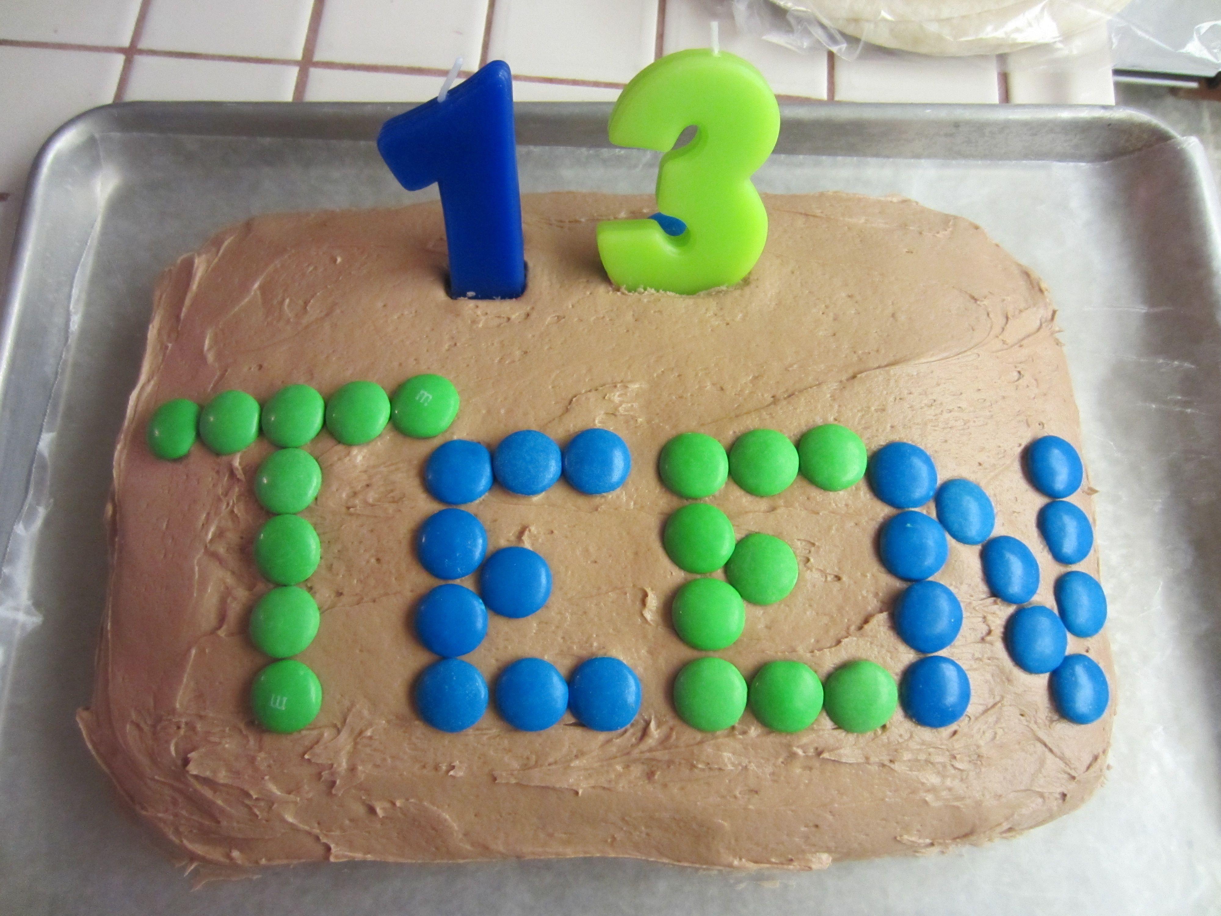 Simple Cake For A No Fuss 13 Yr Old Boy 13 Birthday Cake Boy Birthday Cake Homemade Cakes