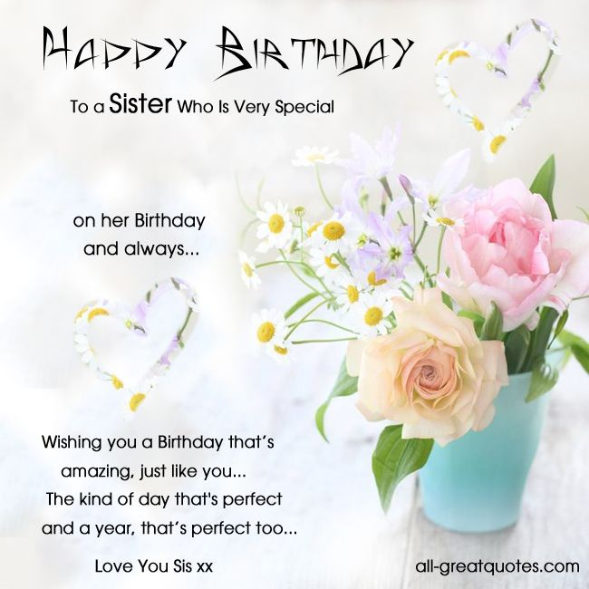 Birthday Wishes For Sister In Christ ~ Birthday card for a sister free cards happy to who is