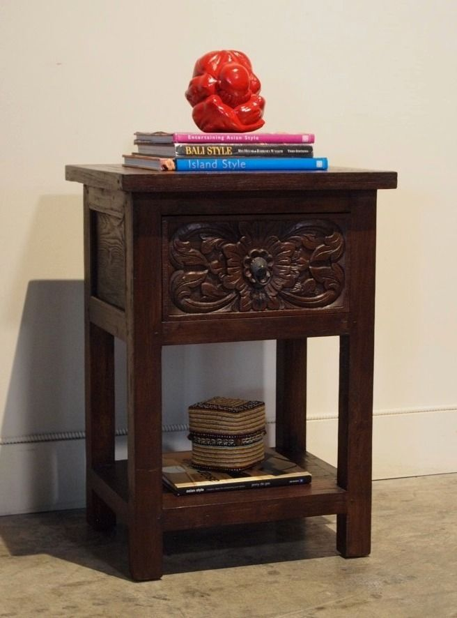 Side Table Bali Style.Reclaimed Teak Carved Indonesian Side Table Gado Gado