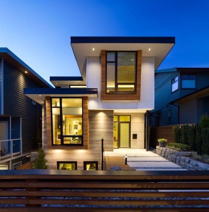 Fachadas de casas bonitas modernas de dos pisos simples for Diseno de jardines minimalistas para casas