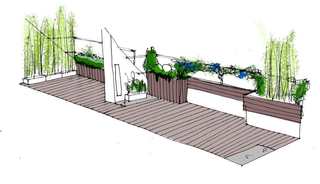 Dise o de jard n para terraza en tico jardines dise o for Diseno de jardin