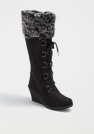 4d1dd944a82 image of Black Faux Fur Wedge Knee High Boot Rue 21