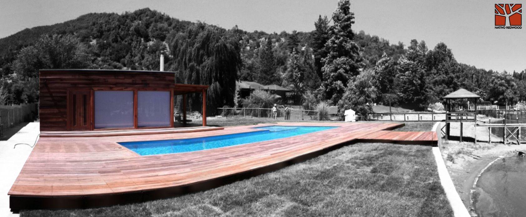 Nativo redwood terraza en casa en laguna aculeo for Estructuras para piscinas