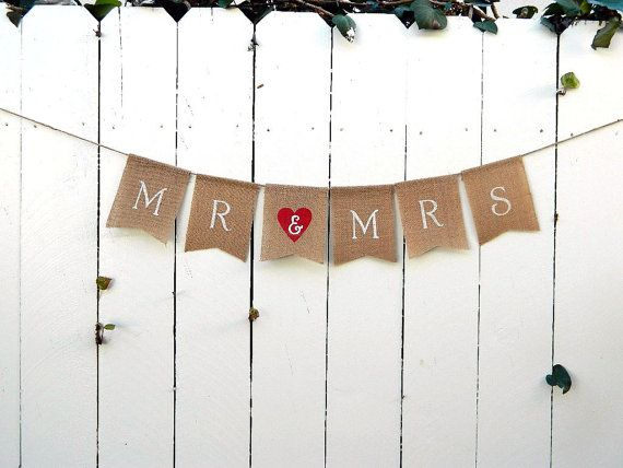 MR and MRS Burlap Red Heart White Script Wedding Banner Photo Prop Rustic Flag Banner, Country, Shabby Chic, Anniversary, Valentine's Day