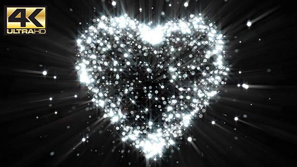 Abstract Dark Silver Glitter Particle Heart Background 4K by
