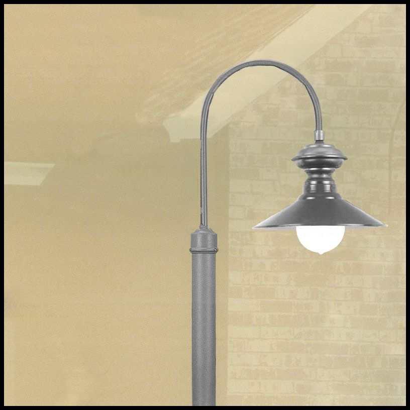 Single 17in Railroad Antique Top Radial Shade Pole Lights Lights Commercial Lighting Fixtures Post Lighting